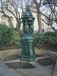 type of public drinking fountain designed by Charles-Auguste Lebourg