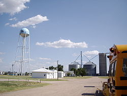 Water tower and grain storage facilities in Park, Kansas.