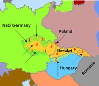 1. Germany occupies the Sudetenland (autumn 1938) 2. Hungary occupies border areas (southern third of Slovakia and southern Carpathian Ruthenia) with Hungarian minorities 3. Carpathian Ruthenia received autonomy (autumn 1938). 4. Poland occupies Zaolzie area with Polish minority (autumn 1938). 5. In March 1939 the remaining Czech territories becomes the German satellite, Protectorate of Bohemia and Moravia. 6. From remainder Czechoslovakia Slovakia is created, becoming another German satellite.