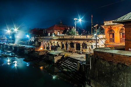 Cremations of en:Pashupatinath Temple on the bank Bagmati River.
