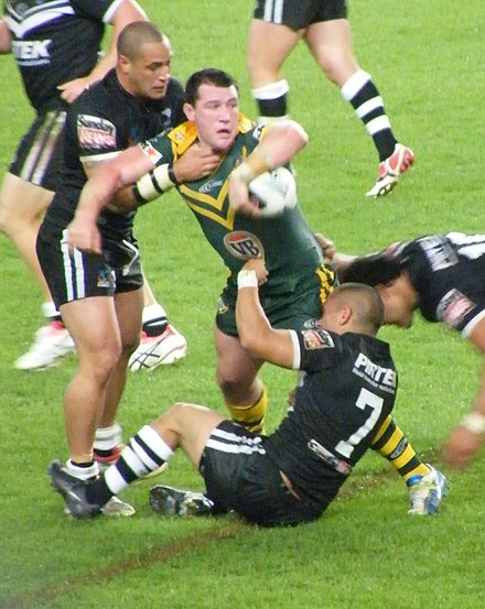 Gallen playing for Australia against New Zealand at the 2008 Rugby League World Cup Paul Gallen (26 October 2008).jpg