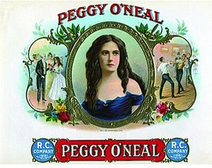 Petticoat affair - Cigar box exploits her fame and beauty, showing President Jackson introduced to Peggy O'Neal (left) and two lovers fighting a duel over her (right)