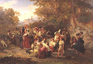 Penry Williams (artist) - Neapolitan Peasants at a Fountain (1859), by Penry Williams