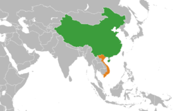 Map indicating locations of People's Republic of China and Vietnam