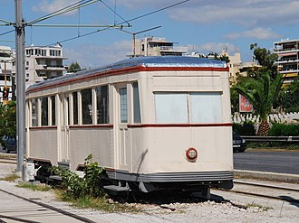 Piraeus-Perama light railway - Railcar no 82 of the defunct Piraeus-Perama suburban light railway (1936-1977) at Pikrodaphni tram station