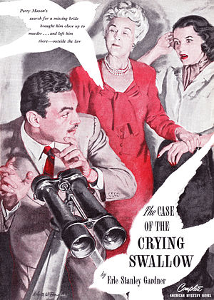 "Perry Mason bibliography - Robert W. Douglas illustrated ""The Case of the Crying Swallow"" for the August 1947 issue of The American Magazine"