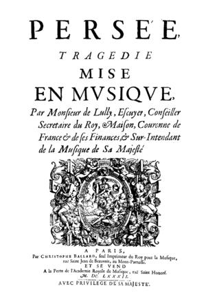 Persée - The title page of Persée (1682)