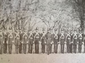 12th Virginia Infantry - Petersburg City Guard in formation at Poplar Lawn Petersburg, Va. February 1861. Capt. J. P. May is front and center.