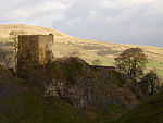 Peveril Castle curtain walls and fragmentary foundations