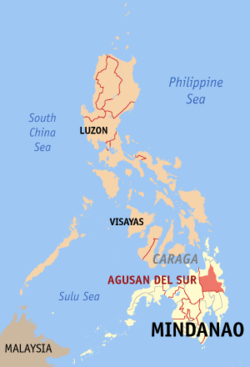 Map of the Philippines with Agusan del Sur highlighted