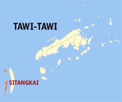 Map of Tawi-Tawi with Sitangkai highlighted
