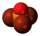 Space-filling model of the phosphoryl bromide molecule