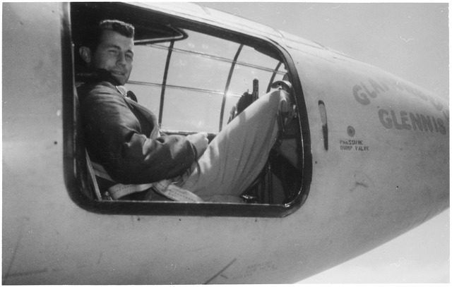 Chuck Yeager in a bell helicopter
