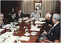 Photograph of President Reagan holding a National Security Council Meeting on the TWA hijacking, Situation Room - NARA - 198563.jpg