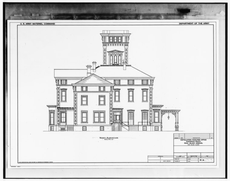 File:Photograph of line drawing in possession of Engineering Plans and Services Division, Rock Island Arsenal. WEST ELEVATION, UNDATED. - Rock Island Arsenal, Building No. 1, HABS ILL,81-ROCIL,3-1-34.tif