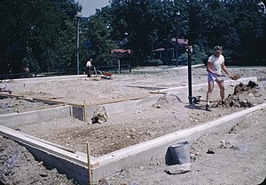Shallow foundation - a foundation of what would become a one-story house in the United States circa 1955
