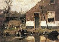 Piet Mondriaan - Truncated view of a gabled house façade on a canal - None - Piet Mondrian, catalogue raisonné.jpg