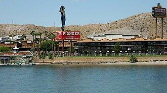 Pioneer Hotel & Gambling Hall - Colorado River view of Pioneer in 2007