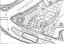 Anglais: un plan des rues de Pittsburgh, Pennsylvanie, en 1795, qui comprend Fort Pitt.Wikipeder.