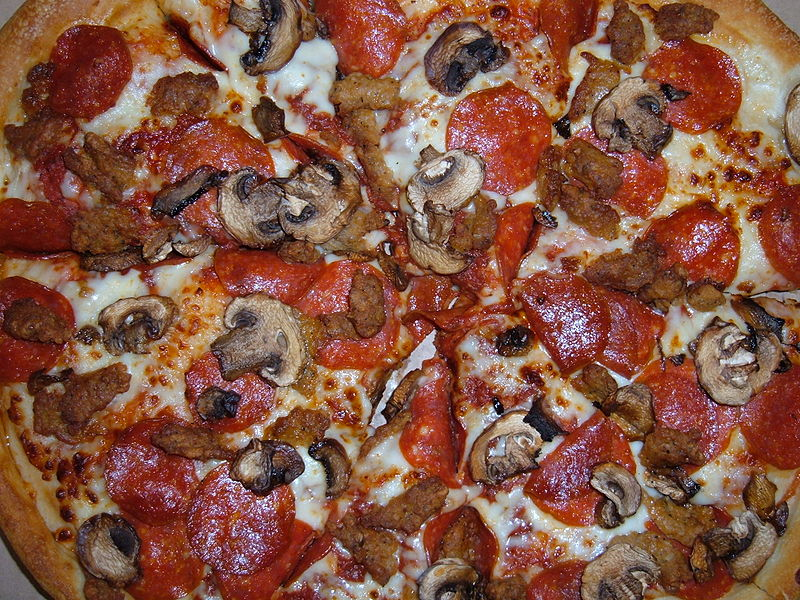 File:Pizza Hut pepperoni, sausage, mushroom pizza.JPG