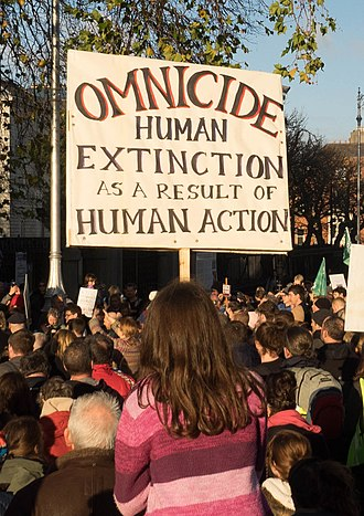 Human extinction - Placard against omnicide, at Extinction Rebellion (2018).