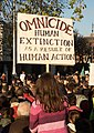 Placard against human extinction, Extinction Rebellion (cropped).jpg