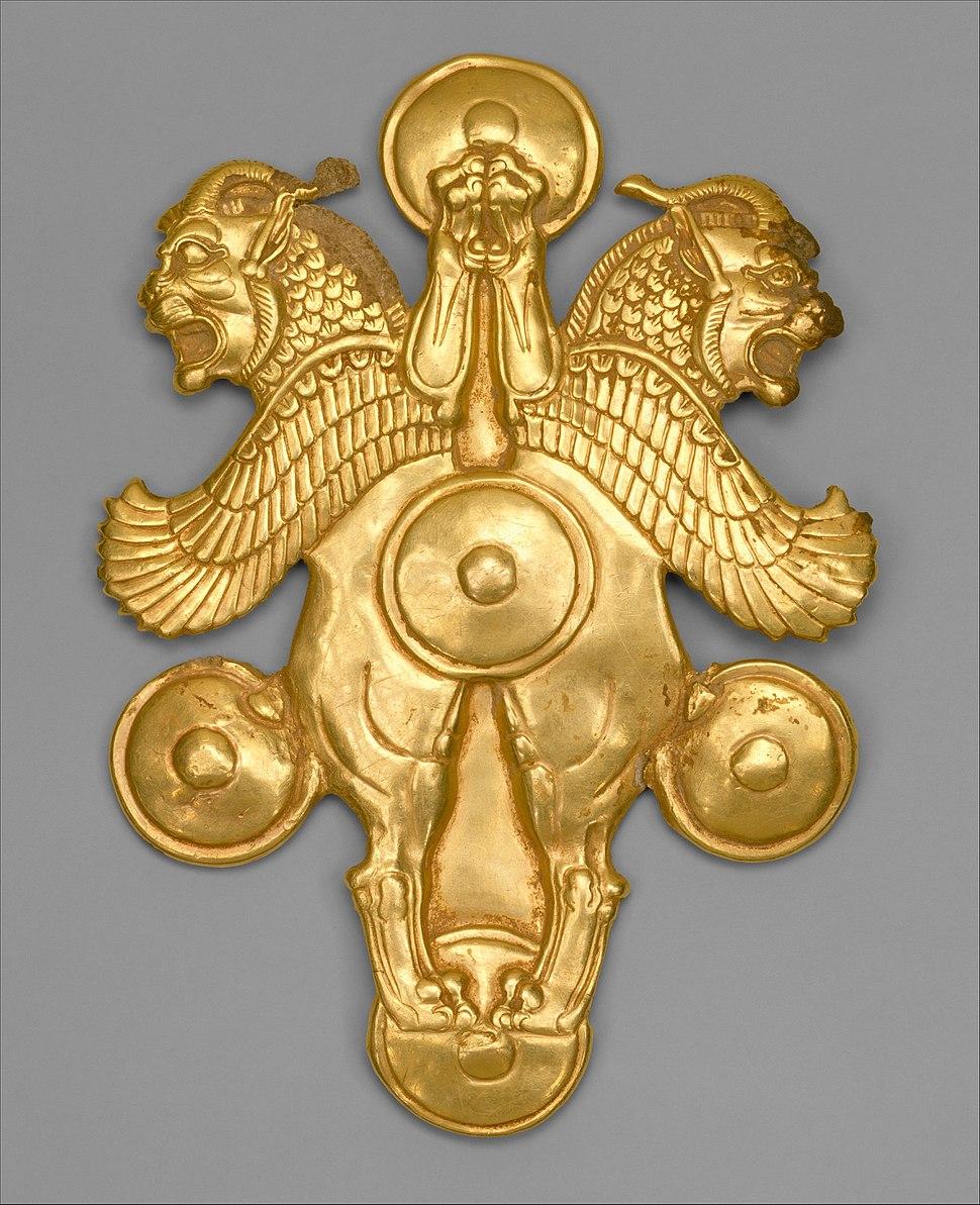 Plaque with horned lion-griffins MET DT896