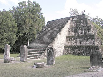 Twin-pyramid complex - The restored east pyramid of Group Q, a twin-pyramid complex at Tikal