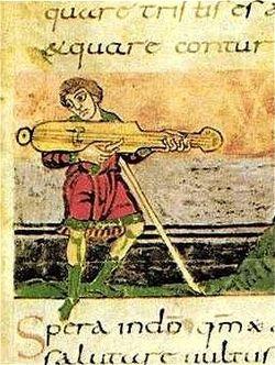Plucked instrument, French Psalter, 9th century.jpg