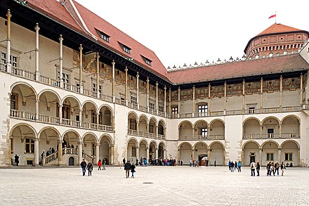 The Italian courtyard at Wawel Castle in Krakow, the former seat of Polish monarchs Poland-01788 - Courtyard (32000957141).jpg