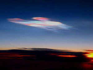 Polar stratospheric cloud - A type II (water) PSC showing iridescence