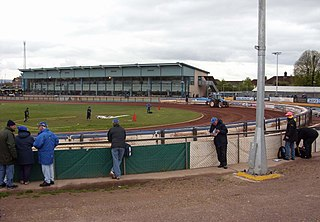 Poole Stadium venue and speedway track in Poole, Dorset in England