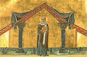 Pope Agatho - Pope Agatho depicted in the Menologion of Basil II (c. 1000 AD)