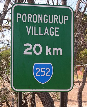 Porongurup, Western Australia - Roadside sign near Mount Barker