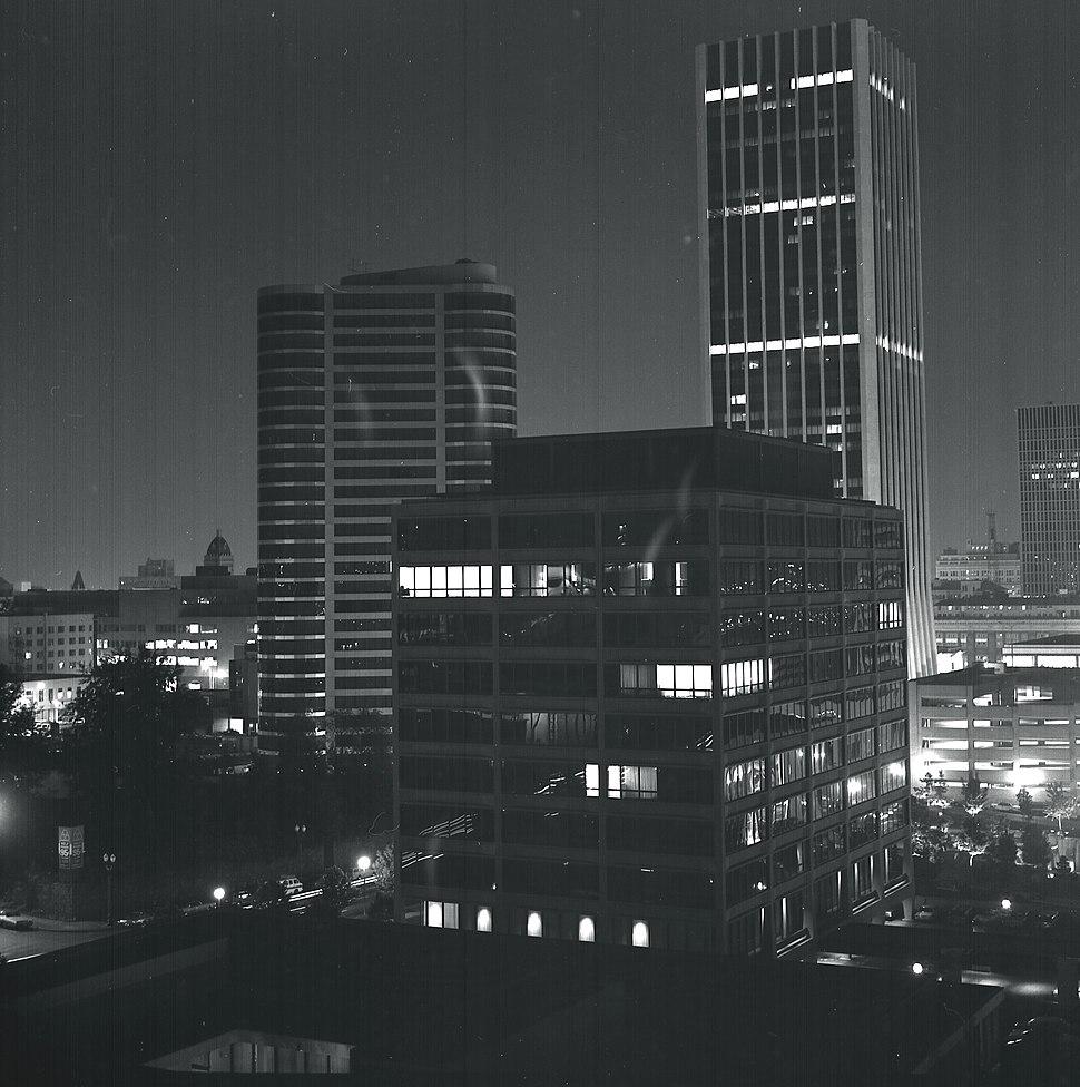 Portland, Oregon (USA) at night, 1974