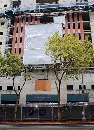 Portlandia (statue) - Since March 2018, the statue has been temporarily covered by a protective wrap during reconstruction of the Portland Building.