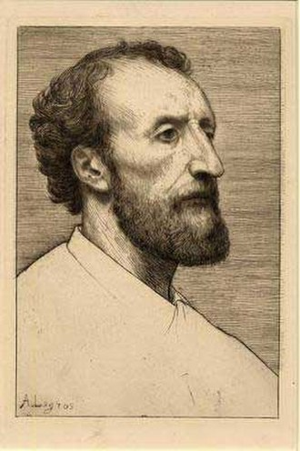 Alphonse Legros - portrait etching of Dalou by Legros