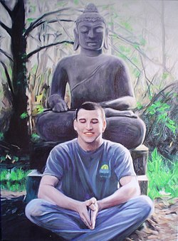 """American Buddhist with Thai Buddha"", Living Enrichment Center, Wilsonville, Oregon, 1998."