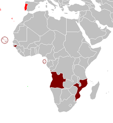 Colour-coded map of Portugal and Africa