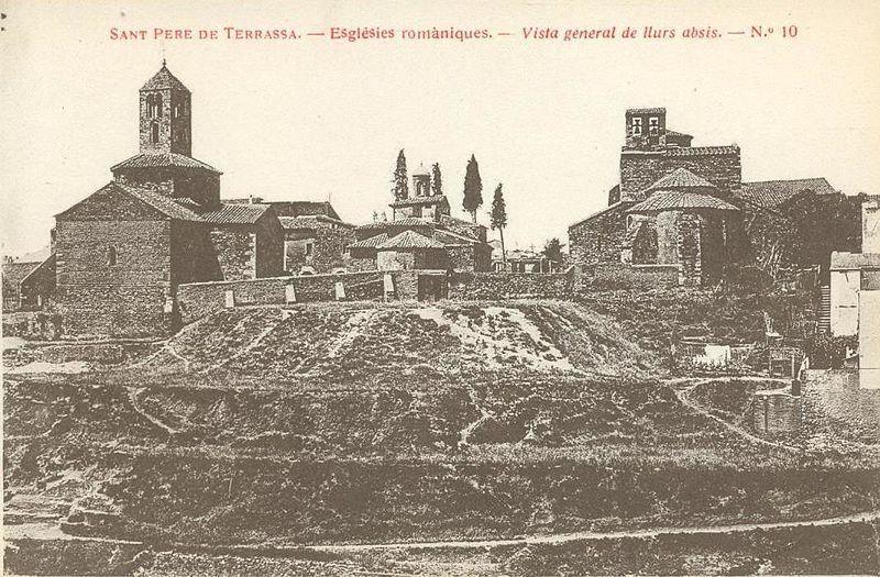 Postal de las iglesias de San Pedro de Tarrasa