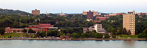 Timeline of town creation in the Hudson Valley - Downtown Poughkeepsie as seen from across the Hudson River
