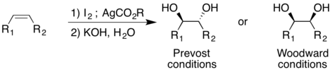 Scheme of the Prevost and Woodward Reactions.