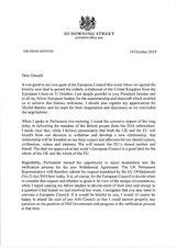 Briefe des britischen Premierministers Johnson vom 19. Oktober 2019 an den Europäischen Rat. Der erste Brief – ohne Briefkopf von Downing Street No. 10 und ohne Unterschrift – beantragt den Aufschub des EU-Austritts zum 31.Januar 2020 gemäß Art. 50 EUV. Der zweite Brief – mit Briefkopf und Unterschrift – bittet um Ablehnung des Antrags.