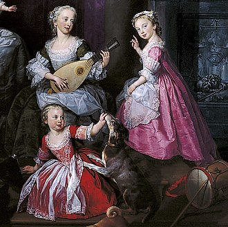 Princess Louisa of Great Britain - Louisa (right) with her elder sister Elizabeth (left) and younger brother Frederick (below) in a family group portrait of 1751.