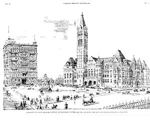 Old City Hall (Toronto) - 1898 drawing of the proposed square in front of Old City Hall (south of Queen Street) in Canadian Builder and Architect.