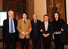 Matteo Renzi tra Lapo Pistelli e Ciriaco De Mita nel 2006.