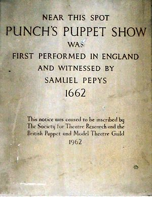 George Speaight - Speaight campaigned for this plaque commemorating the first recorded performance of Punch and Judy in Covent Garden