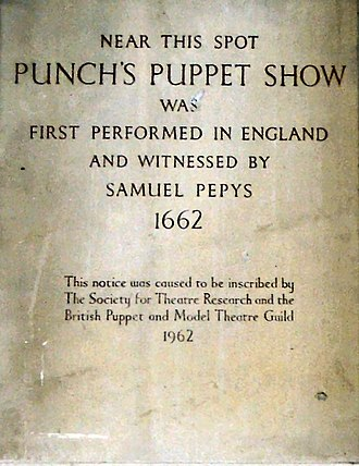 Samuel Pepys - Plaque commemorating Pepys as a witness to the first performance of the puppet show Punch and Judy on St Paul's in Covent Garden, 1662