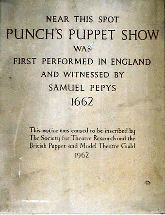 Plaque commemorating Pepys as a witness to the first performance of the puppet show Punch and Judy on St Paul's in Covent Garden, 1662 Punch Plaque Covent Garden.jpg