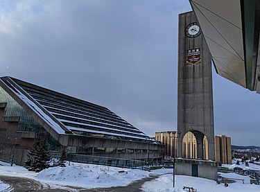 View of the MUN Clock Tower and QEII Library exterior QEII and Clock Tower.jpg